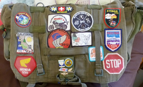 My new patches sewn onto my rucksack--ready for the next ride